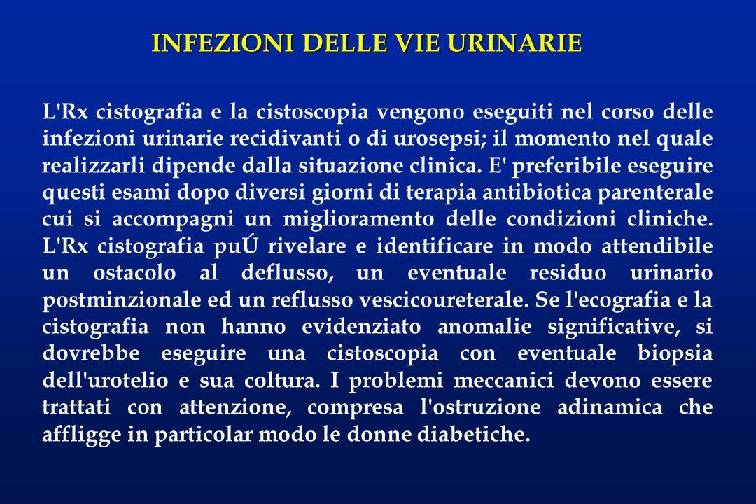 INFEZIONI DELLE VIE URINARIE L'Rx cistografia e la cistoscopia vengono eseguiti nel corso delle infezioni urinarie recidivanti o di urosepsi; il momen