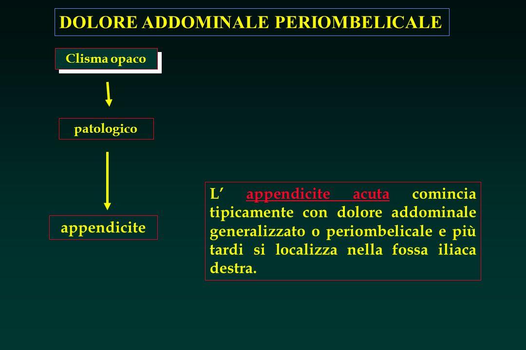 DOLORE ADDOMINALE PERIOMBELICALE appendicite L appendicite acuta comincia tipicamente con dolore addominale generalizzato o periombelicale e più tardi