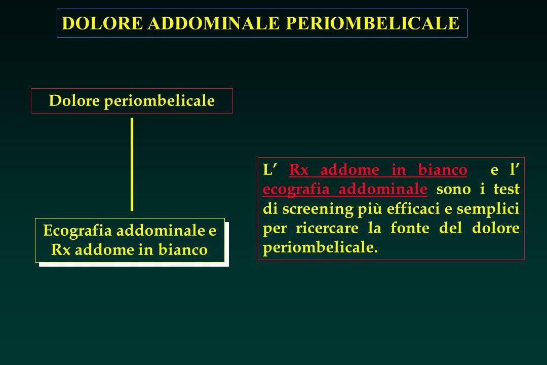DOLORE ADDOMINALE PERIOMBELICALE Dolore periombelicale Ecografia addominale e Rx addome in bianco L Rx addome in bianco e l ecografia addominale sono