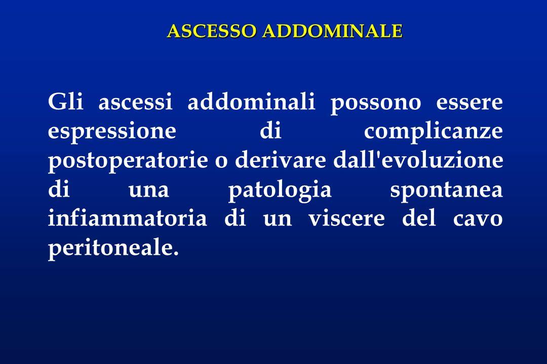 ASCESSO ADDOMINALE Gli ascessi addominali possono essere espressione di complicanze postoperatorie o derivare dall'evoluzione di una patologia spontan
