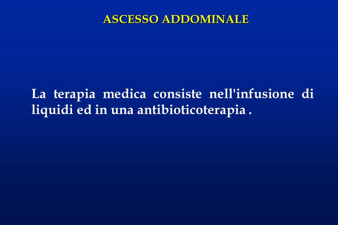 ASCESSO ADDOMINALE La terapia medica consiste nell'infusione di liquidi ed in una antibioticoterapia.
