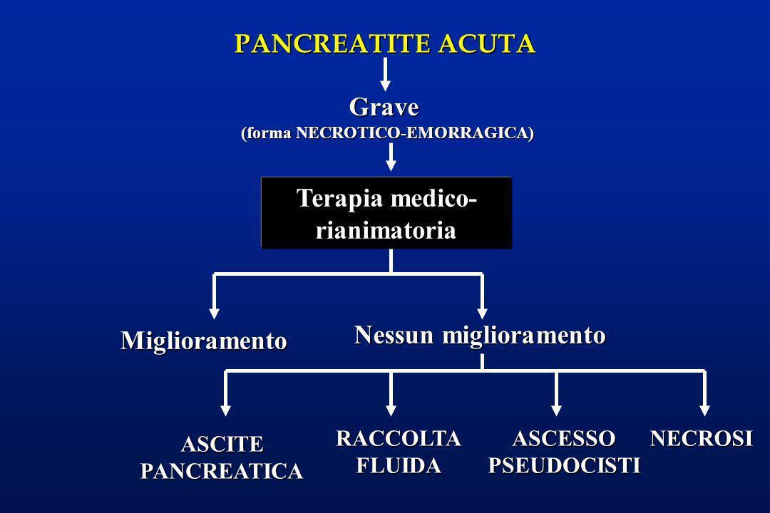 PANCREATITE ACUTA Miglioramento Grave (forma NECROTICO-EMORRAGICA) Terapia medico- rianimatoria Nessun miglioramento ASCITEPANCREATICA RACCOLTAFLUIDAA
