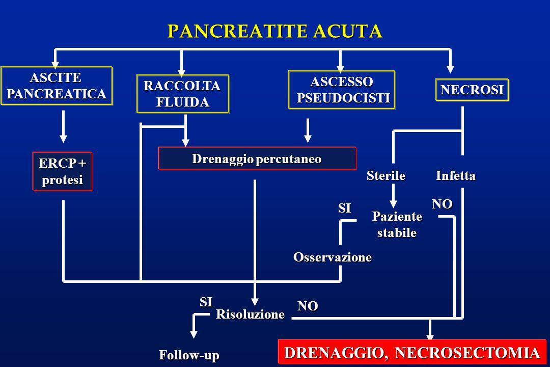 PANCREATITE ACUTA ERCP + protesi Infetta ASCITEPANCREATICA RACCOLTAFLUIDA ASCESSO PSEUDOCISTI PSEUDOCISTI NECROSI Drenaggio percutaneo Sterile Pazient