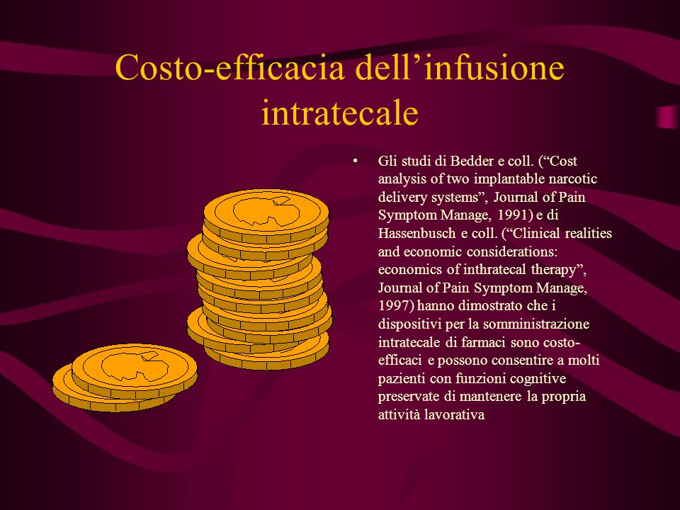 Costo-efficacia dellinfusione intratecale Gli studi di Bedder e coll. (Cost analysis of two implantable narcotic delivery systems, Journal of Pain Sym