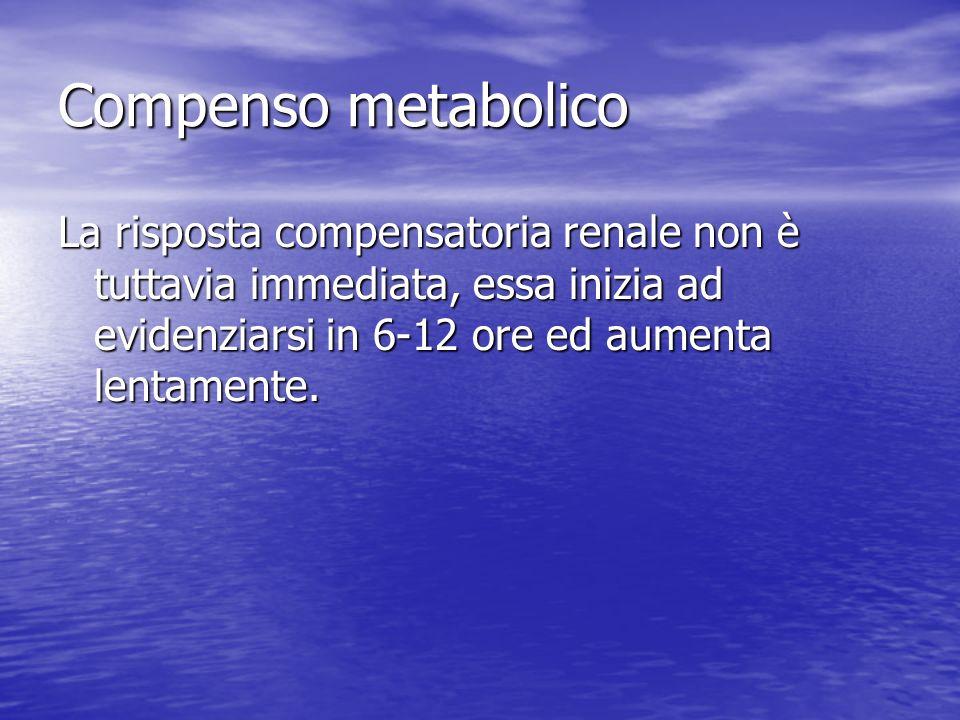 Compenso metabolico La risposta compensatoria renale non è tuttavia immediata, essa inizia ad evidenziarsi in 6-12 ore ed aumenta lentamente.
