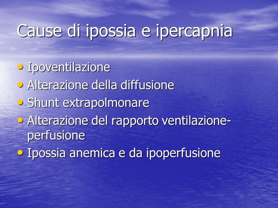 Cause di ipossia e ipercapnia Ipoventilazione Ipoventilazione Alterazione della diffusione Alterazione della diffusione Shunt extrapolmonare Shunt extrapolmonare Alterazione del rapporto ventilazione- perfusione Alterazione del rapporto ventilazione- perfusione Ipossia anemica e da ipoperfusione Ipossia anemica e da ipoperfusione