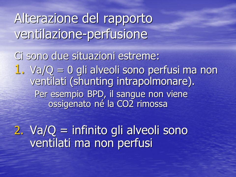 Alterazione del rapporto ventilazione-perfusione Ci sono due situazioni estreme: 1. Va/Q = 0 gli alveoli sono perfusi ma non ventilati (shunting intra