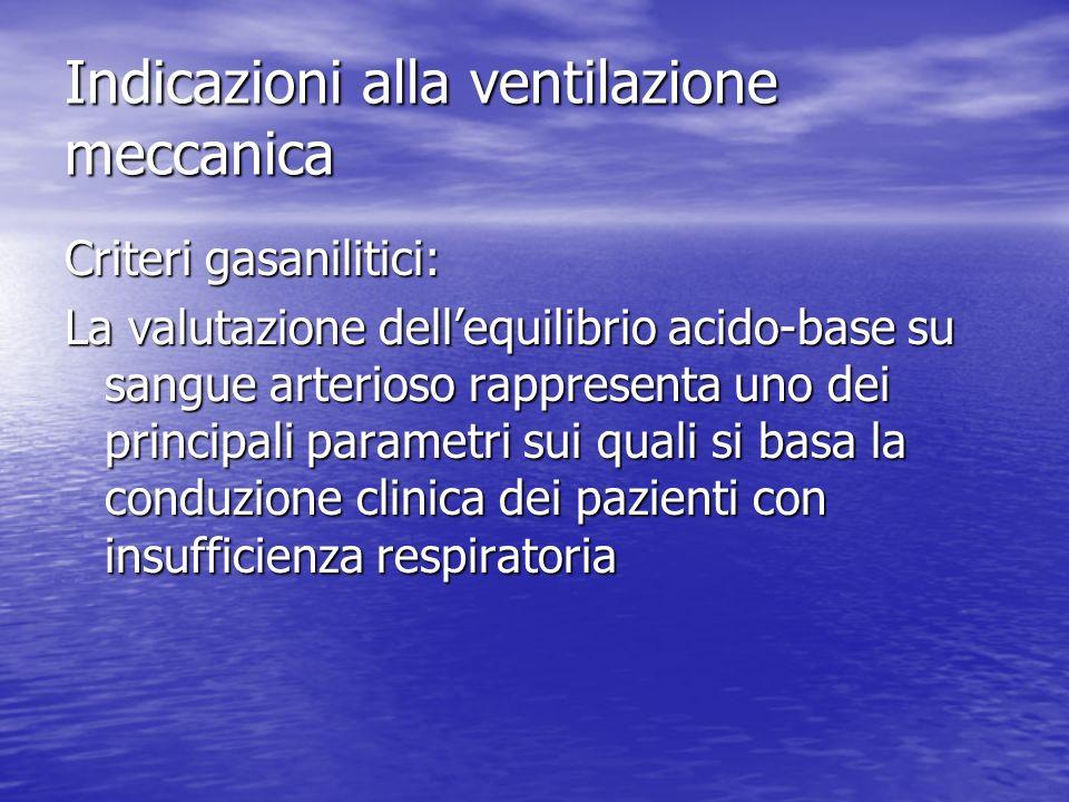 Indicazioni alla ventilazione meccanica Criteri gasanilitici: La valutazione dellequilibrio acido-base su sangue arterioso rappresenta uno dei principali parametri sui quali si basa la conduzione clinica dei pazienti con insufficienza respiratoria
