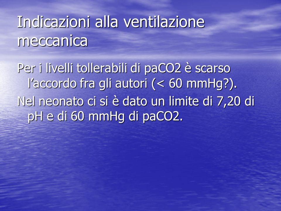 Indicazioni alla ventilazione meccanica Per i livelli tollerabili di paCO2 è scarso laccordo fra gli autori (< 60 mmHg?). Nel neonato ci si è dato un