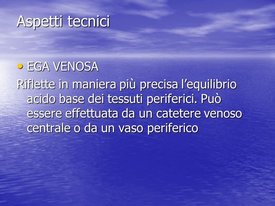 Aspetti tecnici EGA VENOSA EGA VENOSA Riflette in maniera più precisa lequilibrio acido base dei tessuti periferici. Può essere effettuata da un catet