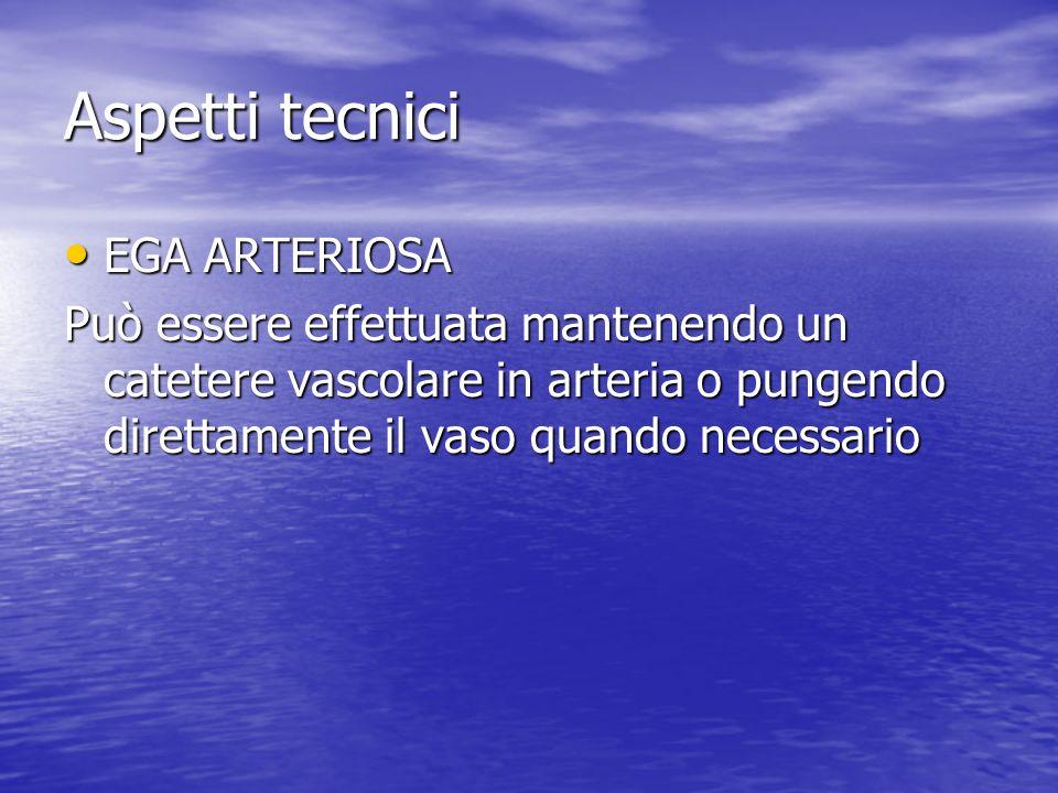 Aspetti tecnici EGA ARTERIOSA EGA ARTERIOSA Può essere effettuata mantenendo un catetere vascolare in arteria o pungendo direttamente il vaso quando necessario