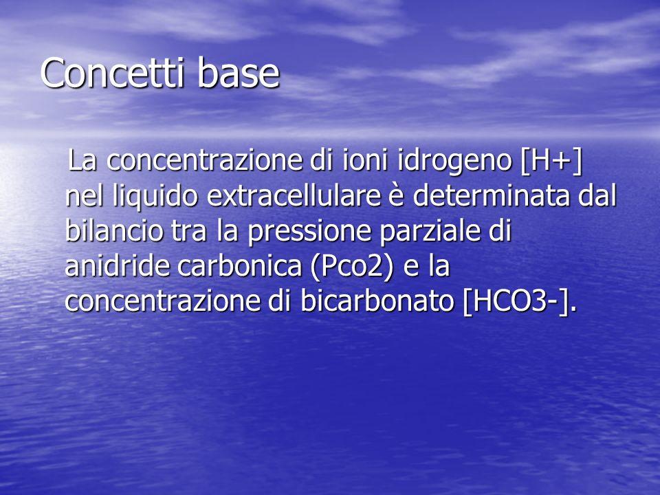 Concetti base La concentrazione di ioni idrogeno [H+] nel liquido extracellulare è determinata dal bilancio tra la pressione parziale di anidride carbonica (Pco2) e la concentrazione di bicarbonato [HCO3-].