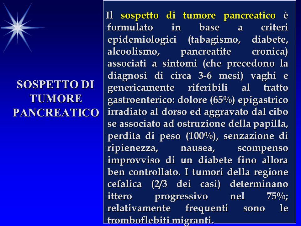 SOSPETTO DI TUMORE PANCREATICO Il sospetto di tumore pancreatico è formulato in base a criteri epidemiologici (tabagismo, diabete, alcoolismo, pancreatite cronica) associati a sintomi (che precedono la diagnosi di circa 3-6 mesi) vaghi e genericamente riferibili al tratto gastroenterico: dolore (65%) epigastrico irradiato al dorso ed aggravato dal cibo se associato ad ostruzione della papilla, perdita di peso (100%), senzazione di ripienezza, nausea, scompenso improvviso di un diabete fino allora ben controllato.
