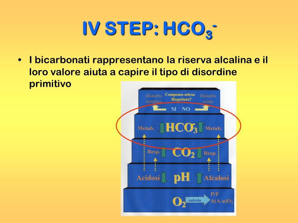 I bicarbonati rappresentano la riserva alcalina e il loro valore aiuta a capire il tipo di disordine primitivo IV STEP: HCO 3 -