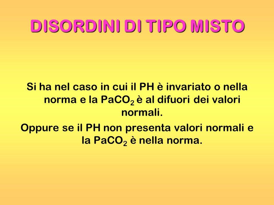 DISORDINI DI TIPO MISTO Si ha nel caso in cui il PH è invariato o nella norma e la PaCO 2 è al difuori dei valori normali. Oppure se il PH non present