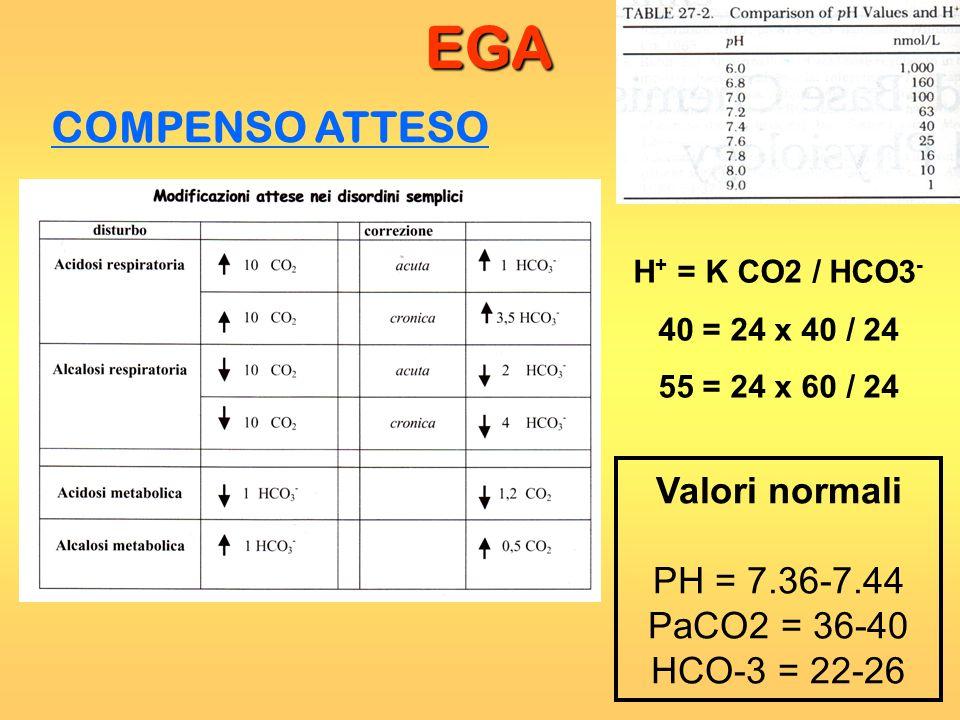EGA COMPENSO ATTESO H + = K CO2 / HCO3 - 40 = 24 x 40 / 24 55 = 24 x 60 / 24 Valori normali PH = 7.36-7.44 PaCO2 = 36-40 HCO-3 = 22-26
