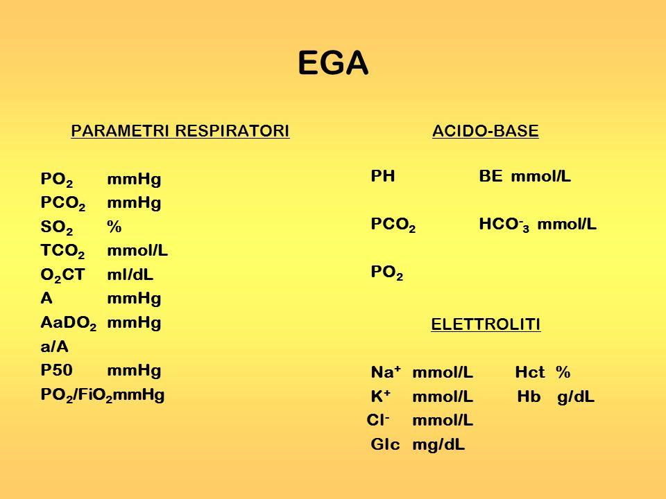 EGA PARAMETRI RESPIRATORI PO 2 mmHg PCO 2 mmHg SO 2 % TCO 2 mmol/L O 2 CTml/dL AmmHg AaDO 2 mmHg a/A P50mmHg PO 2 /FiO 2 mmHg ACIDO-BASE PHBE mmol/L P
