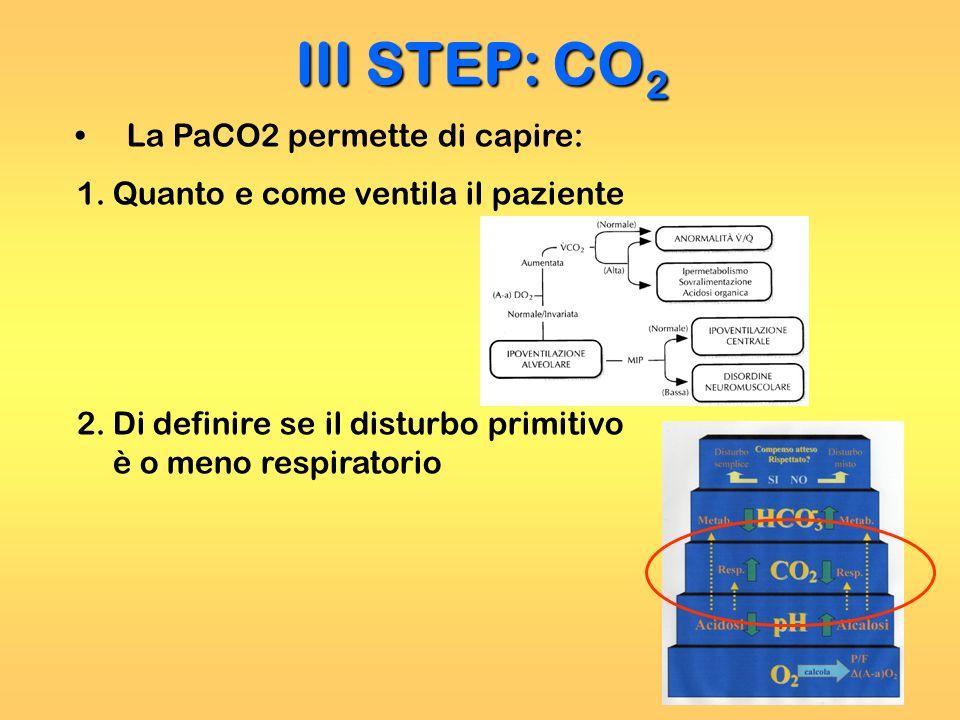 III STEP: CO 2 La PaCO2 permette di capire: 1.Quanto e come ventila il paziente 2.Di definire se il disturbo primitivo è o meno respiratorio