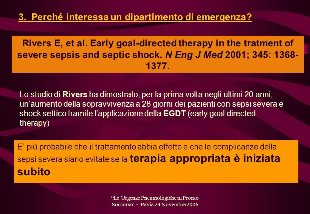 Le Urgenze Pneumologiche in Pronto Soccorso - Pavia 24 Novembre 2006 E più probabile che il trattamento abbia effetto e che le complicanze della sepsi