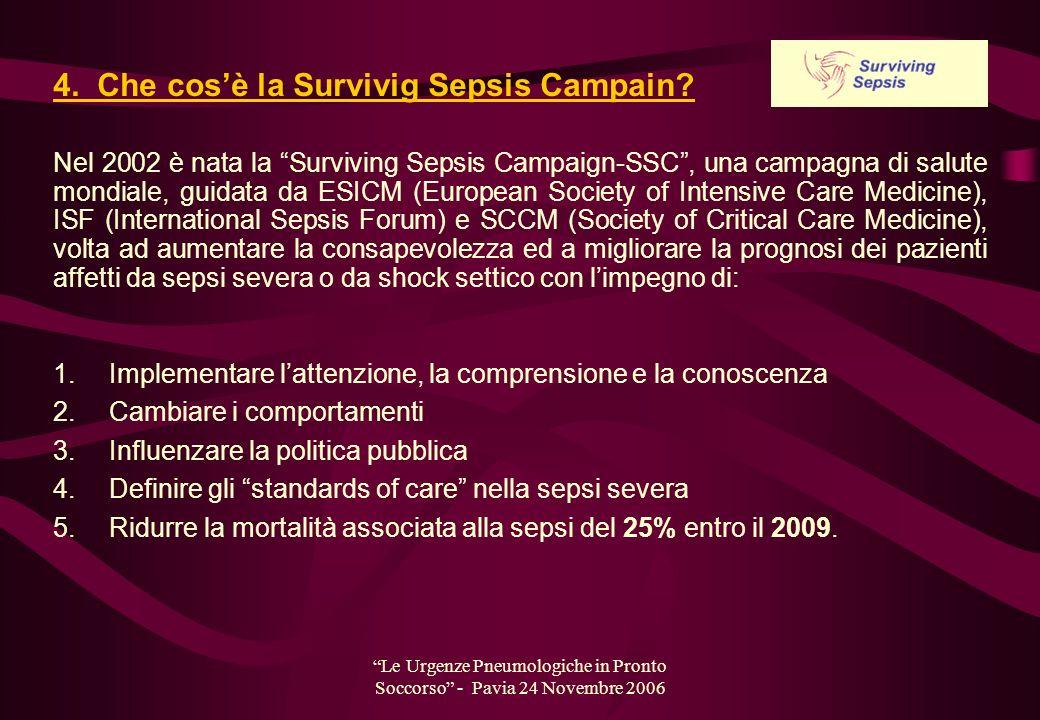 Le Urgenze Pneumologiche in Pronto Soccorso - Pavia 24 Novembre 2006 4. Che cosè la Survivig Sepsis Campain? 1. Implementare lattenzione, la comprensi