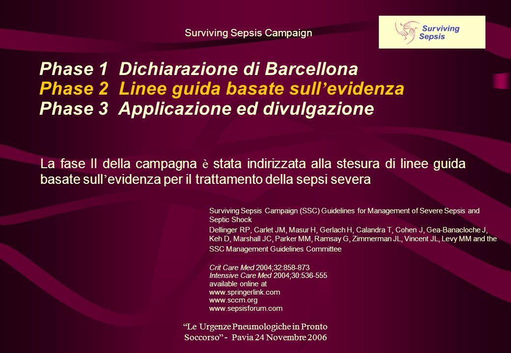 Le Urgenze Pneumologiche in Pronto Soccorso - Pavia 24 Novembre 2006 La fase II della campagna è stata indirizzata alla stesura di linee guida basate