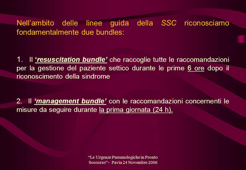 Le Urgenze Pneumologiche in Pronto Soccorso - Pavia 24 Novembre 2006 Nellambito delle linee guida della SSC riconosciamo fondamentalmente due bundles: