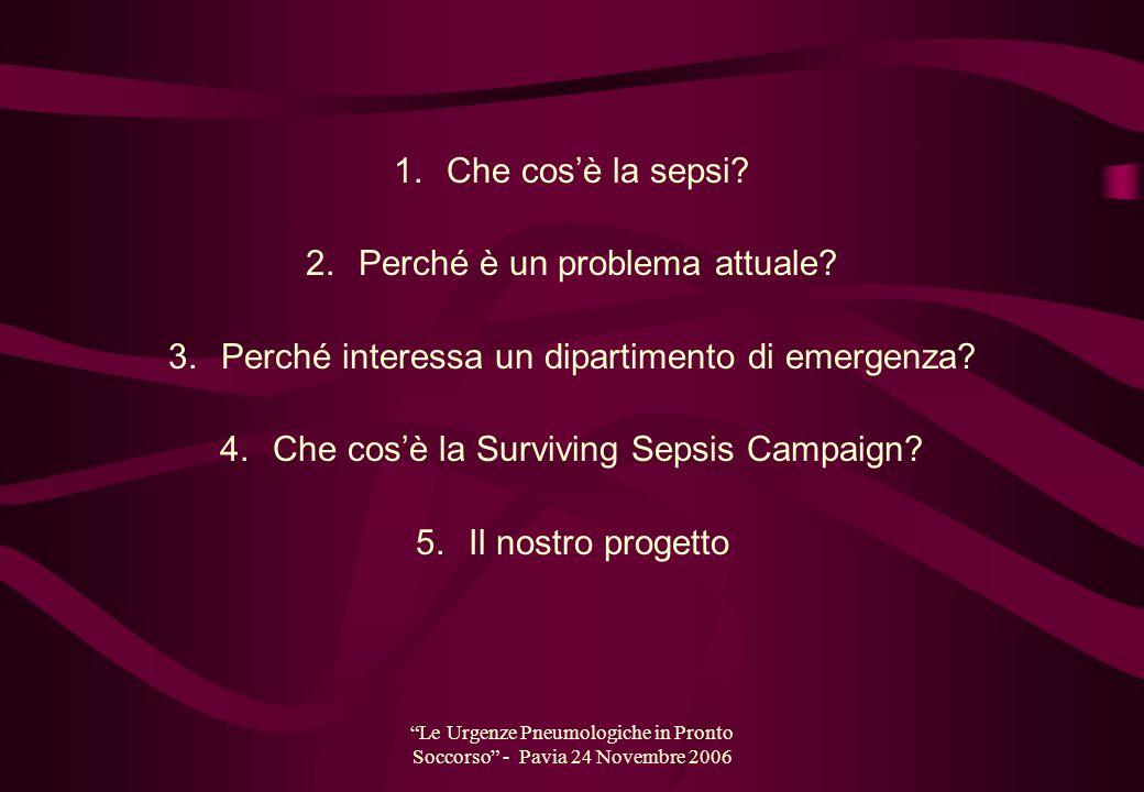 Le Urgenze Pneumologiche in Pronto Soccorso - Pavia 24 Novembre 2006 1. Che cosè la sepsi? 2. Perché è un problema attuale? 3. Perché interessa un dip
