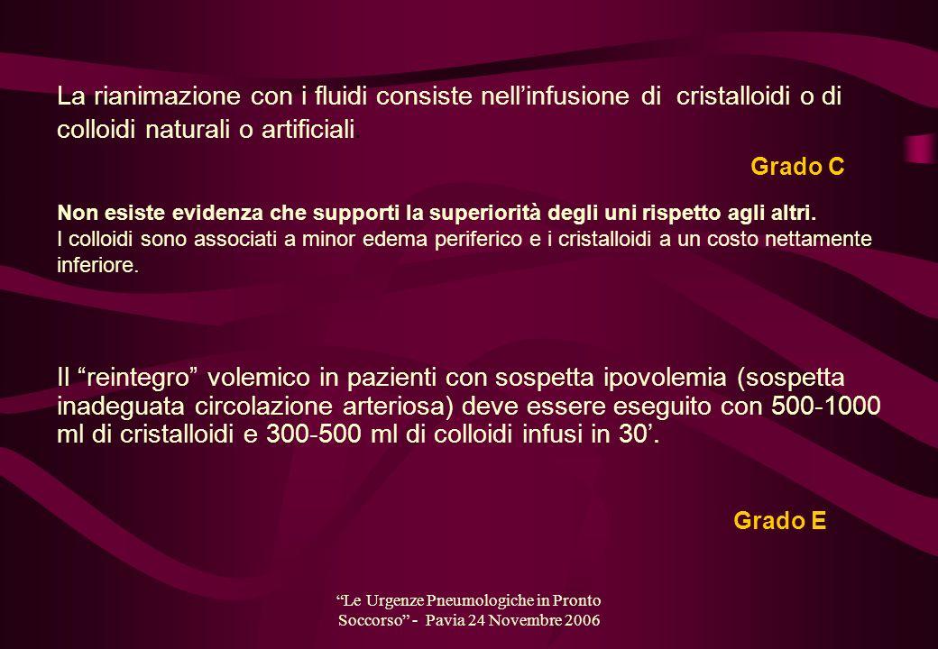 Le Urgenze Pneumologiche in Pronto Soccorso - Pavia 24 Novembre 2006 La rianimazione con i fluidi consiste nellinfusione di cristalloidi o di colloidi