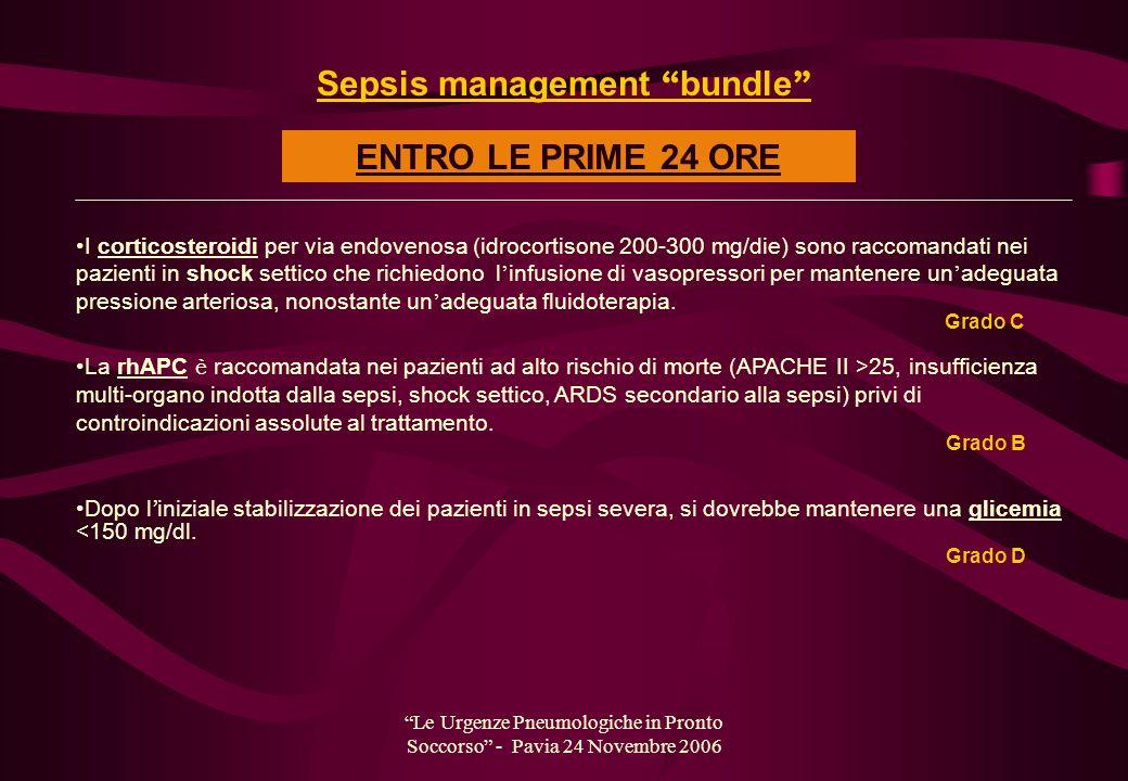 Le Urgenze Pneumologiche in Pronto Soccorso - Pavia 24 Novembre 2006 I corticosteroidi per via endovenosa (idrocortisone 200-300 mg/die) sono raccoman