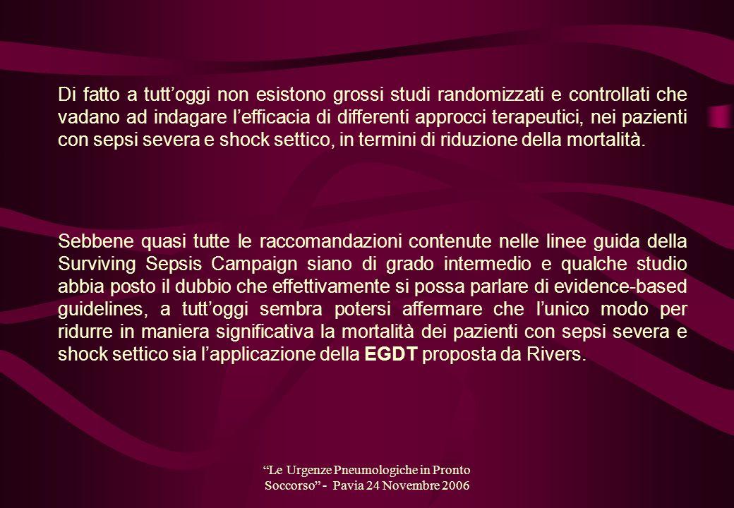 Le Urgenze Pneumologiche in Pronto Soccorso - Pavia 24 Novembre 2006 Di fatto a tuttoggi non esistono grossi studi randomizzati e controllati che vada