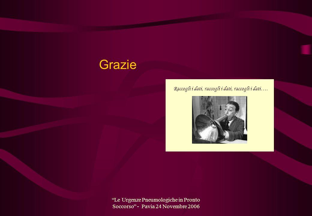 Le Urgenze Pneumologiche in Pronto Soccorso - Pavia 24 Novembre 2006 Grazie Raccogli i dati, raccogli i dati, raccogli i dati….