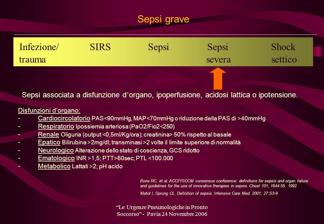 Le Urgenze Pneumologiche in Pronto Soccorso - Pavia 24 Novembre 2006 Sepsi grave Disfunzioni dorgano: - Cardiocircolatorio PAS 40mmHg - Respiratorio I