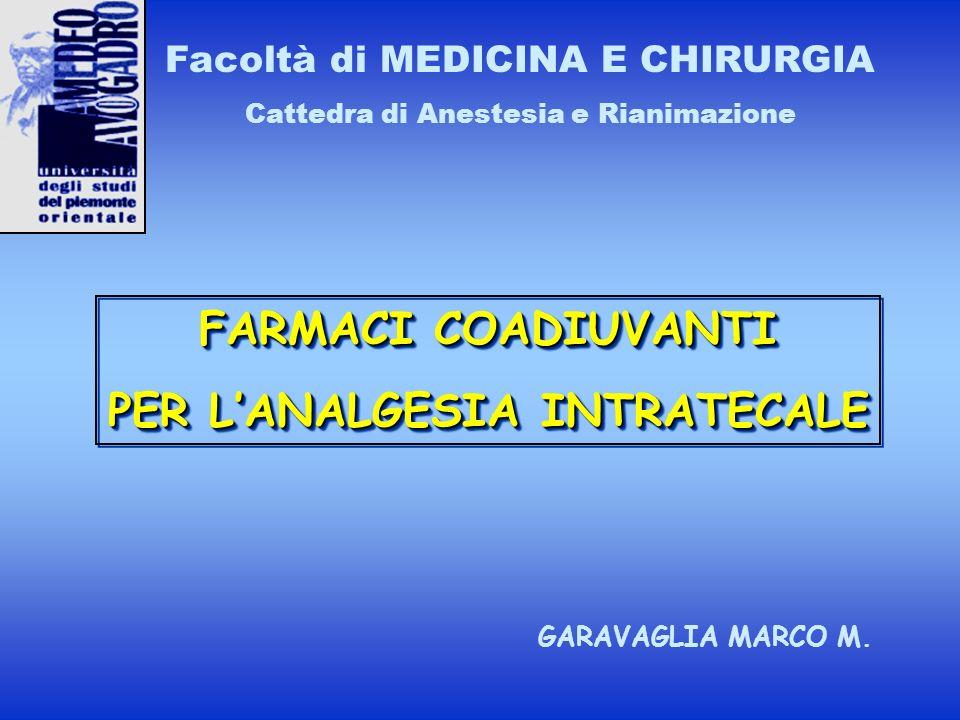 FARMACI COADIUVANTI PER LANALGESIA INTRATECALE FARMACI COADIUVANTI PER LANALGESIA INTRATECALE Facoltà di MEDICINA E CHIRURGIA Cattedra di Anestesia e