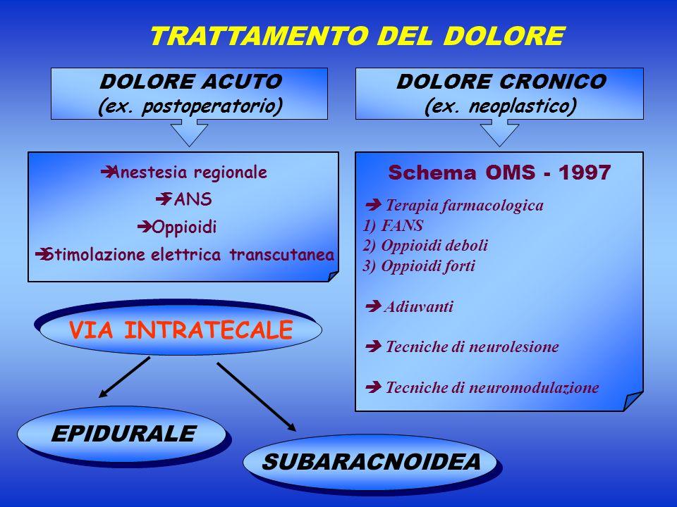 DOLORE CRONICO (ex. neoplastico) TRATTAMENTO DEL DOLORE Anestesia regionale FANS Oppioidi Stimolazione elettrica transcutanea DOLORE ACUTO (ex. postop