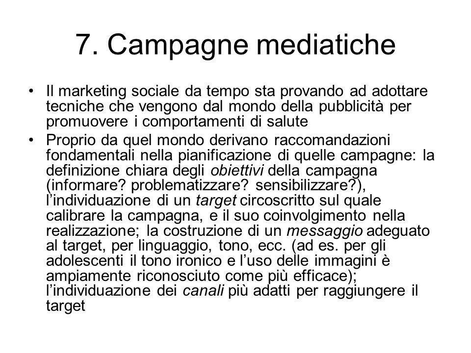 7. Campagne mediatiche Il marketing sociale da tempo sta provando ad adottare tecniche che vengono dal mondo della pubblicità per promuovere i comport