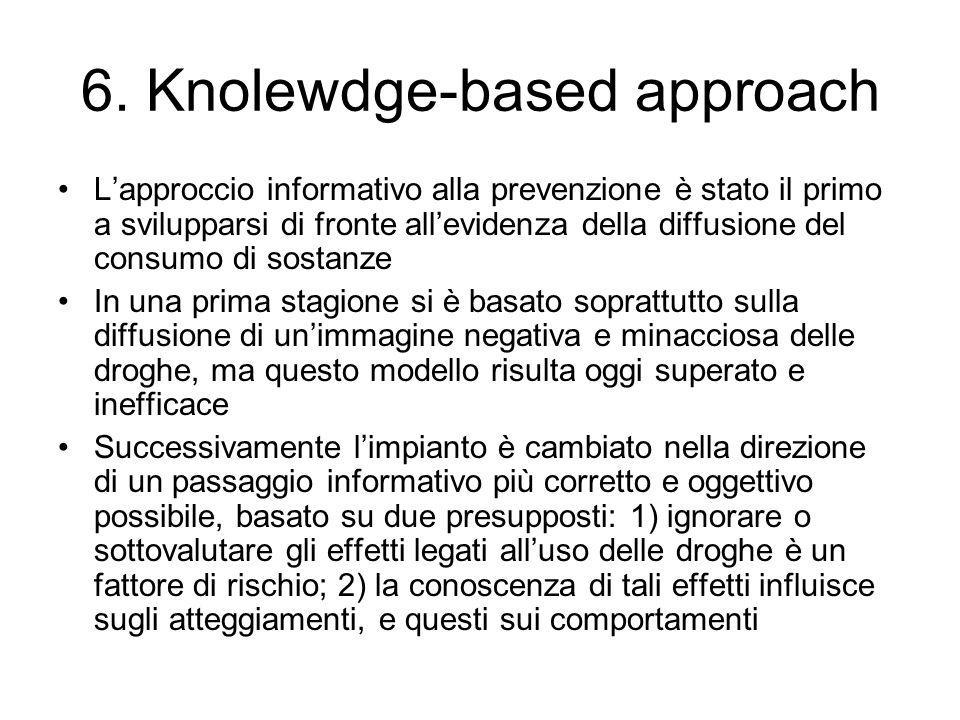 6. Knolewdge-based approach Lapproccio informativo alla prevenzione è stato il primo a svilupparsi di fronte allevidenza della diffusione del consumo