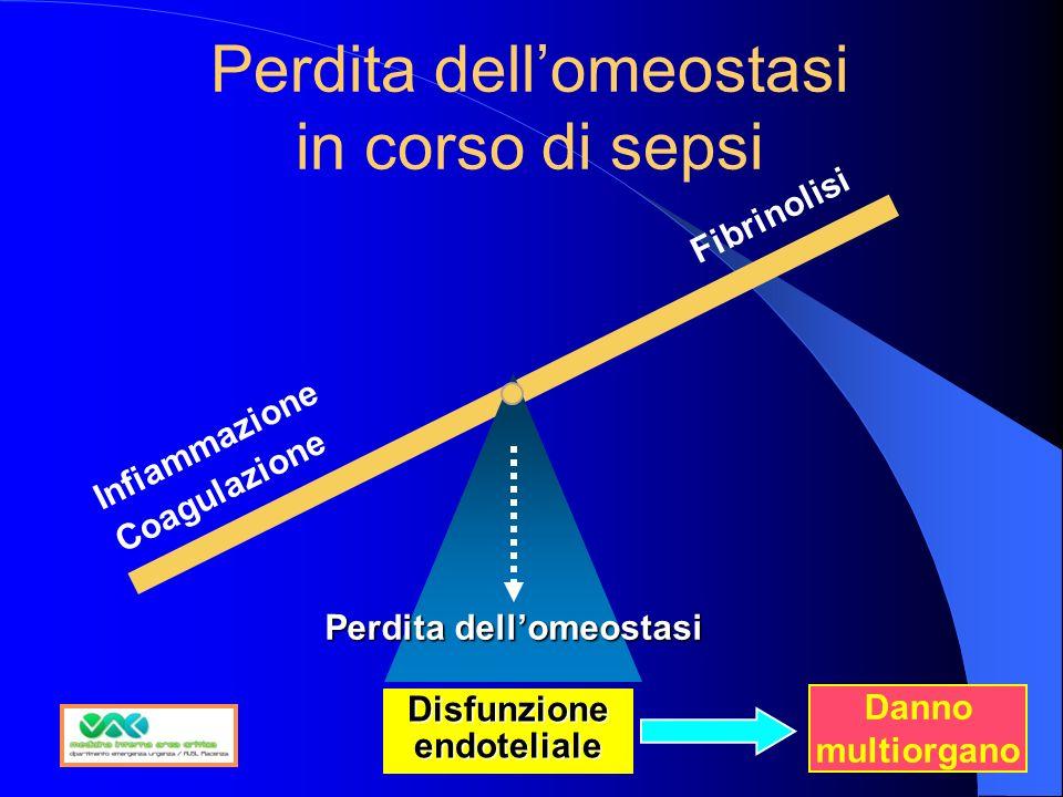 Perdita dellomeostasi in corso di sepsi Fibrinolisi Disfunzione endoteliale Infiammazione Coagulazione Perdita dellomeostasi Danno multiorgano