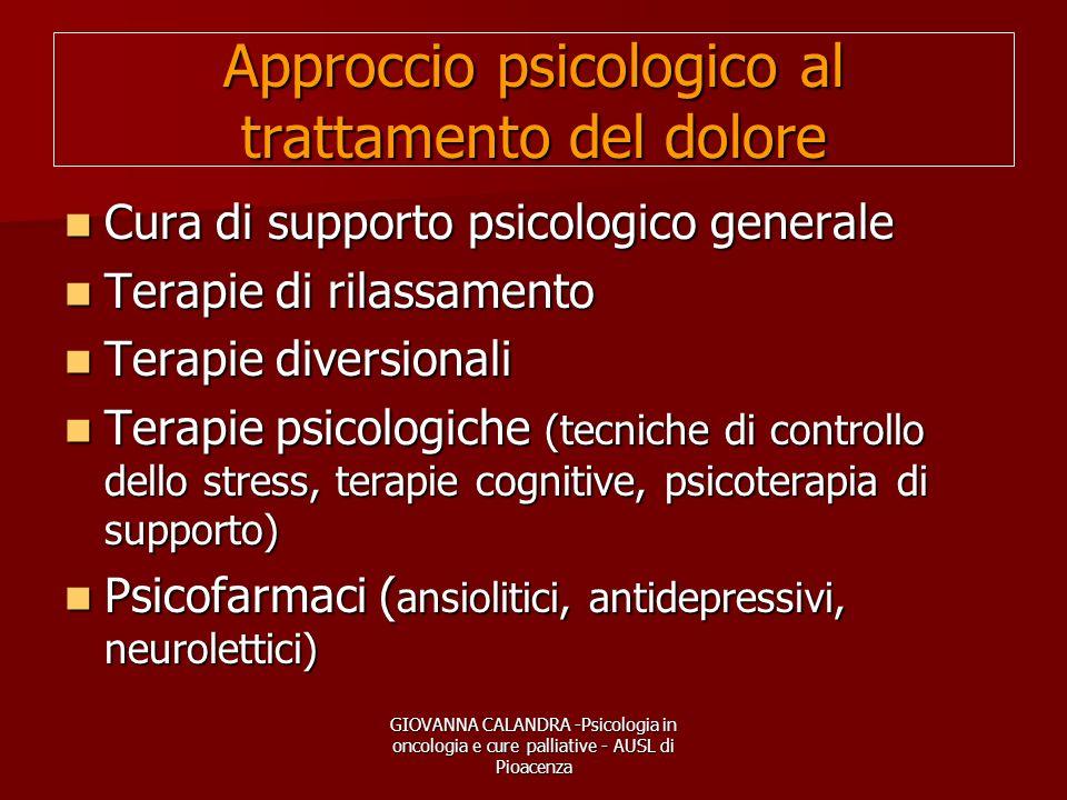 GIOVANNA CALANDRA -Psicologia in oncologia e cure palliative - AUSL di Pioacenza Approccio psicologico al trattamento del dolore Cura di supporto psic