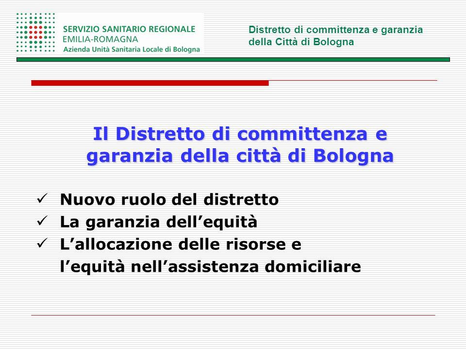 Il Distretto di committenza e garanzia della città di Bologna Nuovo ruolo del distretto La garanzia dellequità Lallocazione delle risorse e lequità nellassistenza domiciliare
