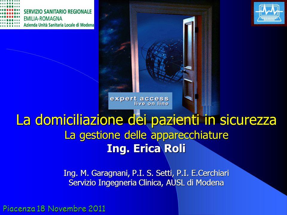 Piacenza 18 Novembre 2011 La domiciliazione dei pazienti in sicurezza La gestione delle apparecchiature Ing. Erica Roli Ing. M. Garagnani, P.I. S. Set