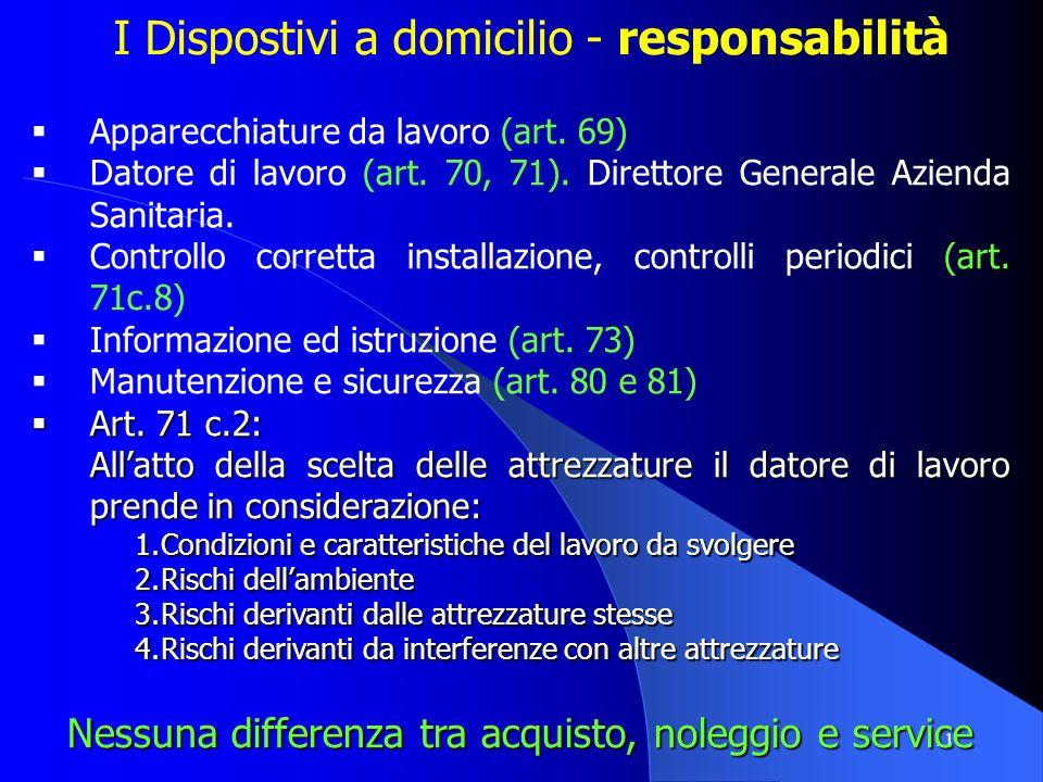 11 I Dispostivi a domicilio - responsabilità Apparecchiature da lavoro (art. 69) Datore di lavoro (art. 70, 71). Direttore Generale Azienda Sanitaria.