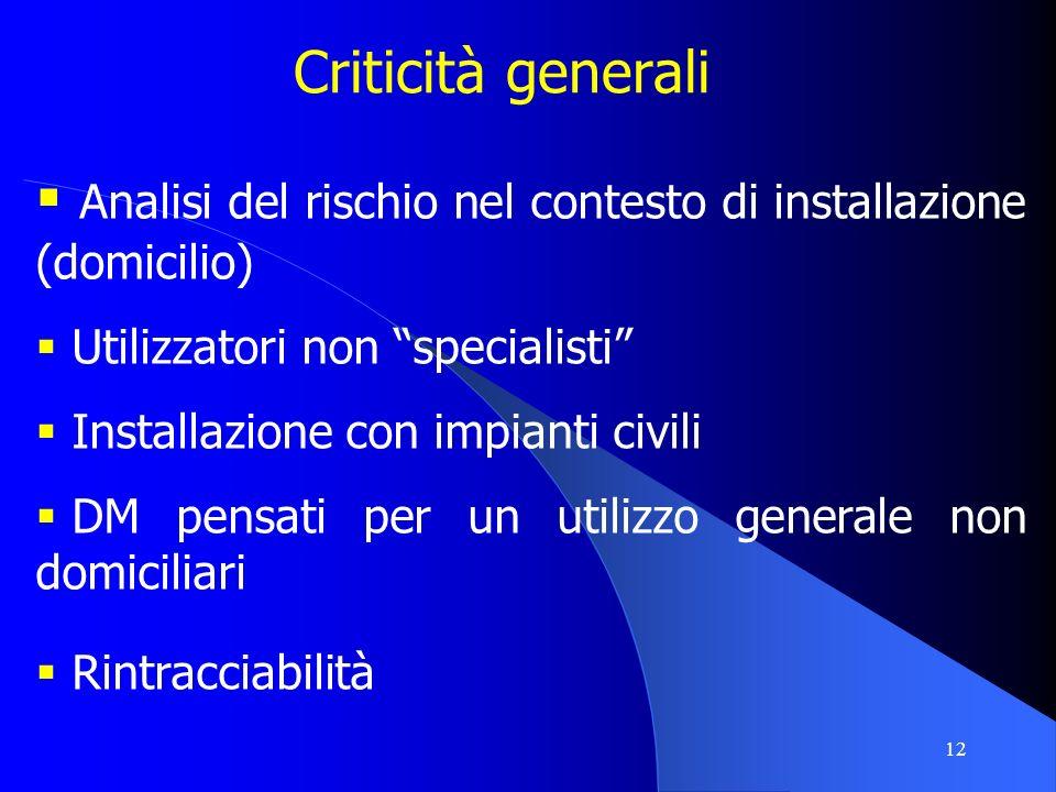 12 Criticità generali Analisi del rischio nel contesto di installazione (domicilio) Utilizzatori non specialisti Installazione con impianti civili DM