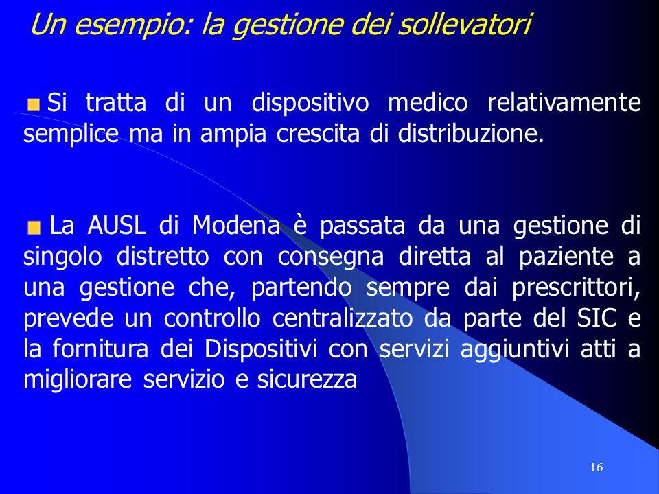 16 Un esempio: la gestione dei sollevatori Si tratta di un dispositivo medico relativamente semplice ma in ampia crescita di distribuzione. La AUSL di