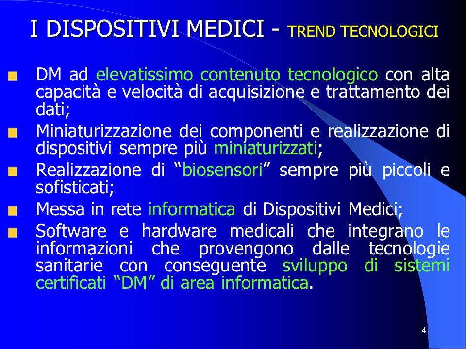 4 I DISPOSITIVI MEDICI - TREND TECNOLOGICI DM ad elevatissimo contenuto tecnologico con alta capacità e velocità di acquisizione e trattamento dei dat