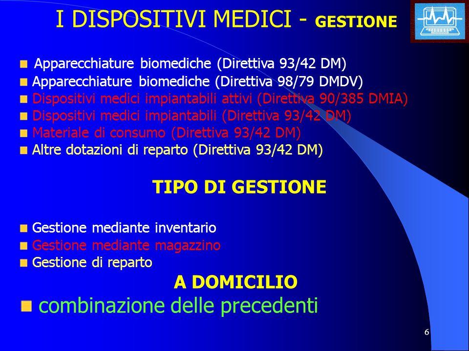 6 I DISPOSITIVI MEDICI - GESTIONE Apparecchiature biomediche (Direttiva 93/42 DM) Apparecchiature biomediche (Direttiva 98/79 DMDV) Dispositivi medici