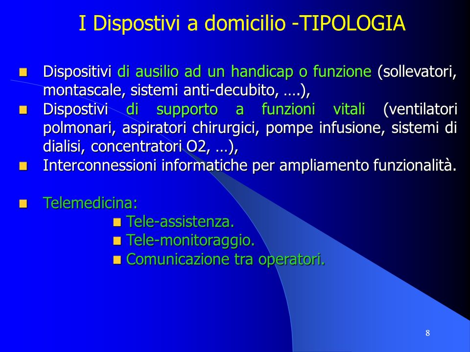 9 I Dispostivi a domicilio Ossigenoterapia (circa 3.000.000 euro/anno) Ventiloterapia (circa 1.500.000 euro/anno) Totale: 1600 apparecchiature Dialisi peritoneale (n.35) Ausili (montascale, sollevatori, sistemi antidecubito,..) Montascale: n.