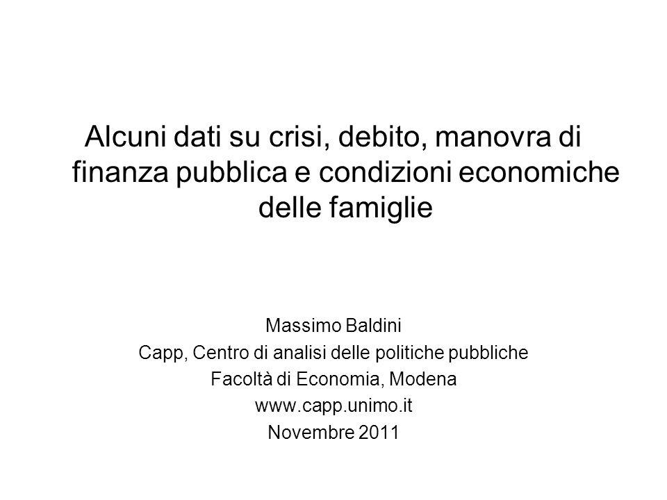 Alcuni dati su crisi, debito, manovra di finanza pubblica e condizioni economiche delle famiglie Massimo Baldini Capp, Centro di analisi delle politic