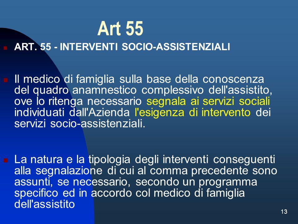 13 Art 55 ART. 55 - INTERVENTI SOCIO-ASSISTENZIALI Il medico di famiglia sulla base della conoscenza del quadro anamnestico complessivo dell'assistito