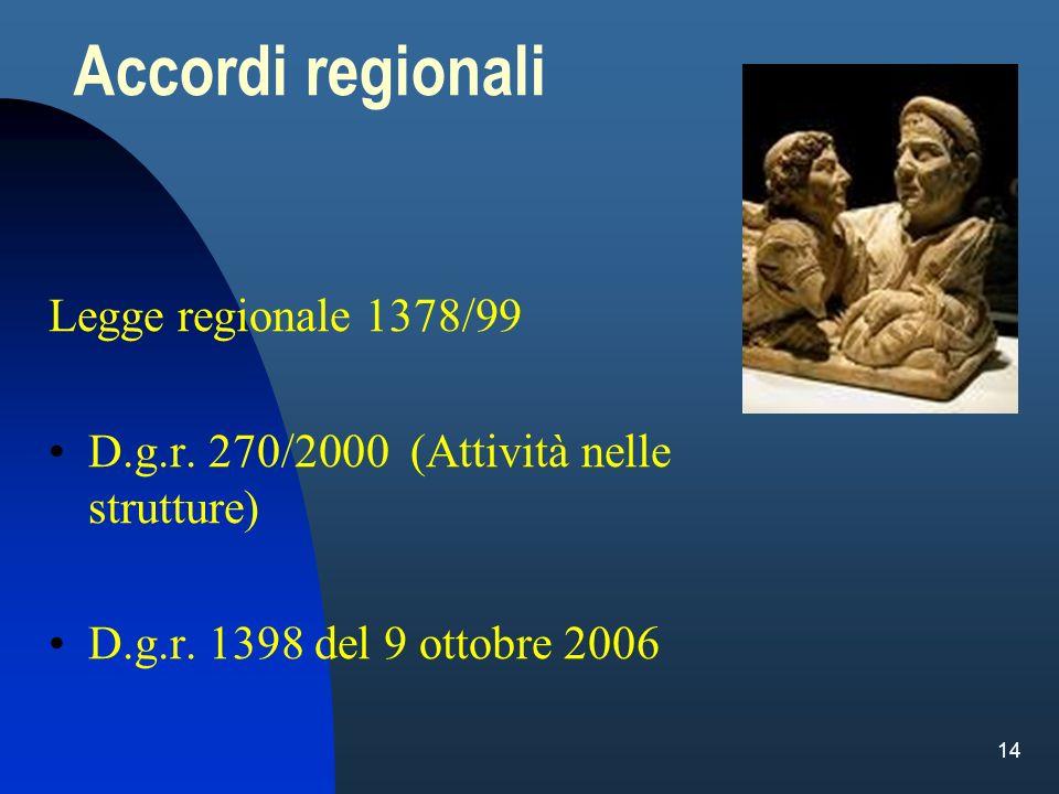 14 Accordi regionali Legge regionale 1378/99 D.g.r. 270/2000 (Attività nelle strutture) D.g.r. 1398 del 9 ottobre 2006