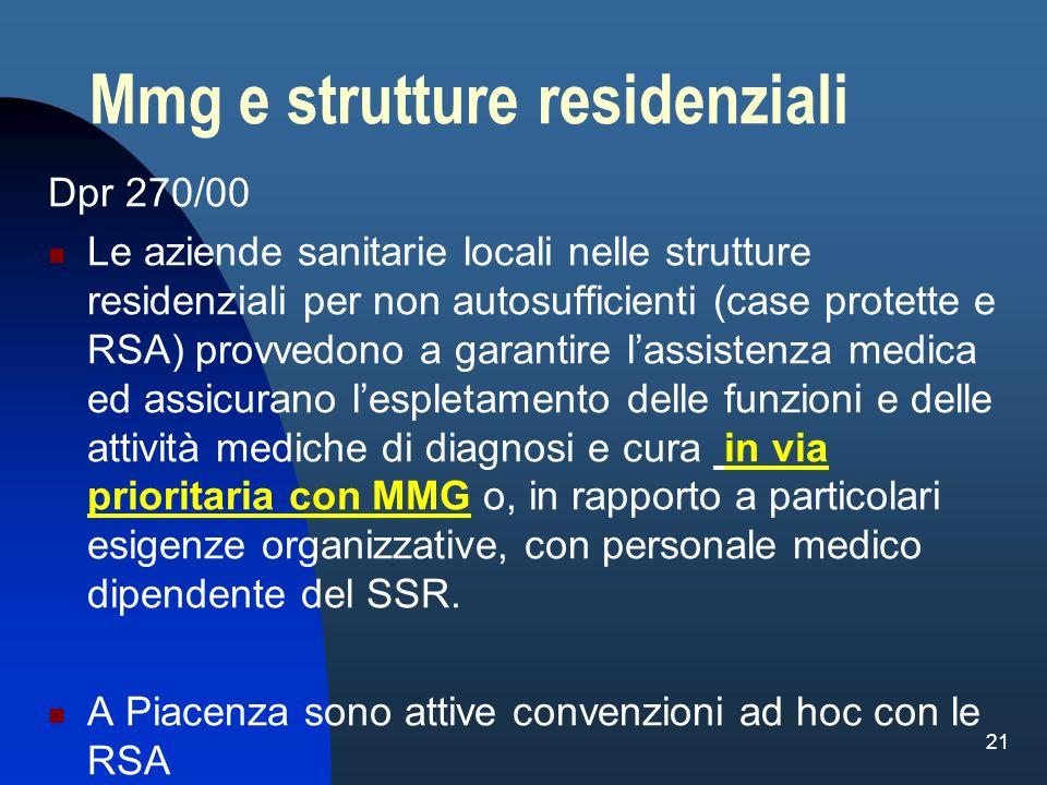 21 Mmg e strutture residenziali Dpr 270/00 Le aziende sanitarie locali nelle strutture residenziali per non autosufficienti (case protette e RSA) prov